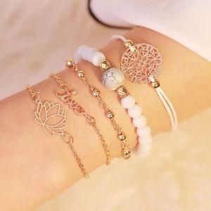 5 Piece Bracelet Anklet Set Lotus Flower Boho